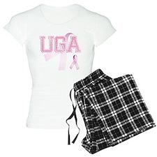 UGA initials, Pink Ribbon, Pajamas