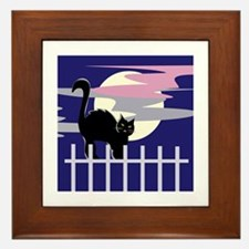 Cat At Night Framed Tile