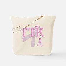 TTK initials, Pink Ribbon, Tote Bag