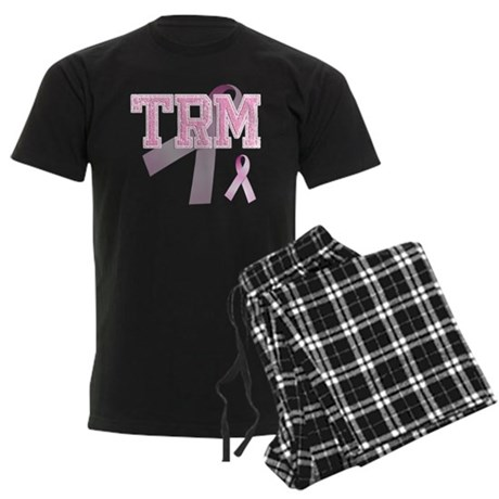 TRM initials, Pink Ribbon, Men's Dark Pajamas