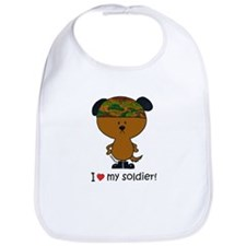 """i love my soldier"" brown soldier dog Bib"