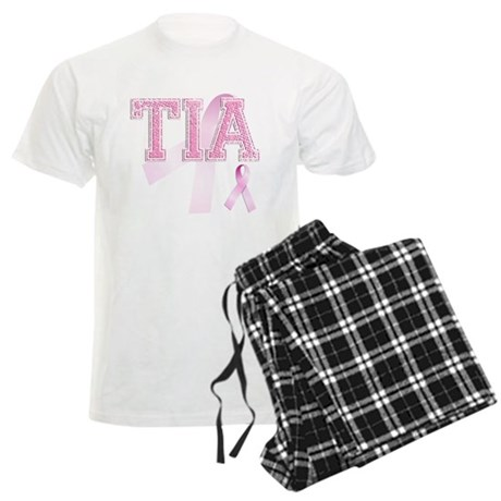 TIA initials, Pink Ribbon, Men's Light Pajamas