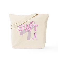 SWT initials, Pink Ribbon, Tote Bag