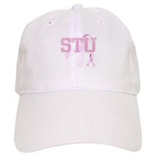 STU initials, Pink Ribbon, Baseball Cap