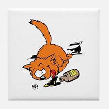 Drunk Cat Tile Coaster