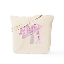 RNY initials, Pink Ribbon, Tote Bag