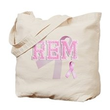REM initials, Pink Ribbon, Tote Bag
