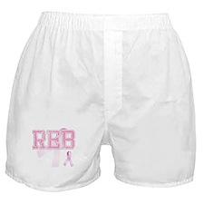 REB initials, Pink Ribbon, Boxer Shorts