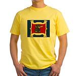 Dachshund Framed by Woman Yellow T-Shirt