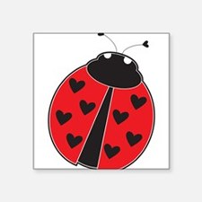 "Lady Bug Square Sticker 3"" x 3"""