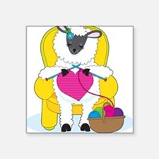 "Sheep Knitting Heart Square Sticker 3"" x 3"""