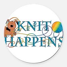 Knit Happens Round Car Magnet