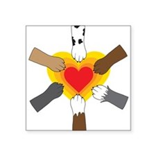 """Paws and Heart Square Sticker 3"""" x 3"""""""