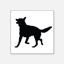 "German Shepherd Silhouette Square Sticker 3"" x 3"""
