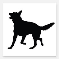 "German Shepherd Silhouette Square Car Magnet 3"" x"