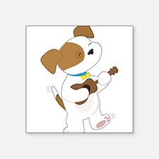 "Cute Puppy Ukulele Square Sticker 3"" x 3"""