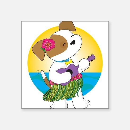 """Cute Puppy Hawaii Square Sticker 3"""" x 3"""""""