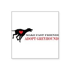 "greyhound friend.png Square Sticker 3"" x 3"""