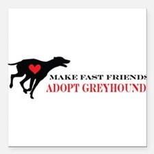 "greyhound friend.png Square Car Magnet 3"" x 3"""
