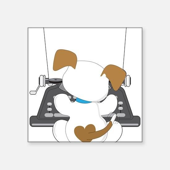 """Cute Puppy Typewriter Square Sticker 3"""" x 3"""""""
