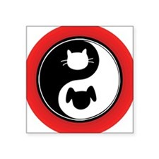 "Yin Yang Cat Dog Square Sticker 3"" x 3"""