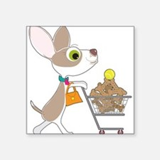 "Chihuahua Shopping Square Sticker 3"" x 3"""