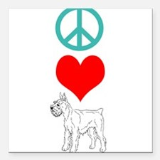 "Peace Love Schnauzer Square Car Magnet 3"" x 3"""