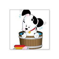 """Doggie Bath Square Sticker 3"""" x 3"""""""