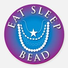 eat_sleep2_bead.jpg Round Car Magnet