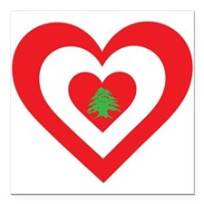 "Lebanon Heart Square Car Magnet 3"" x 3"""