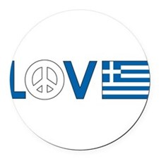 love peace greece .png Round Car Magnet