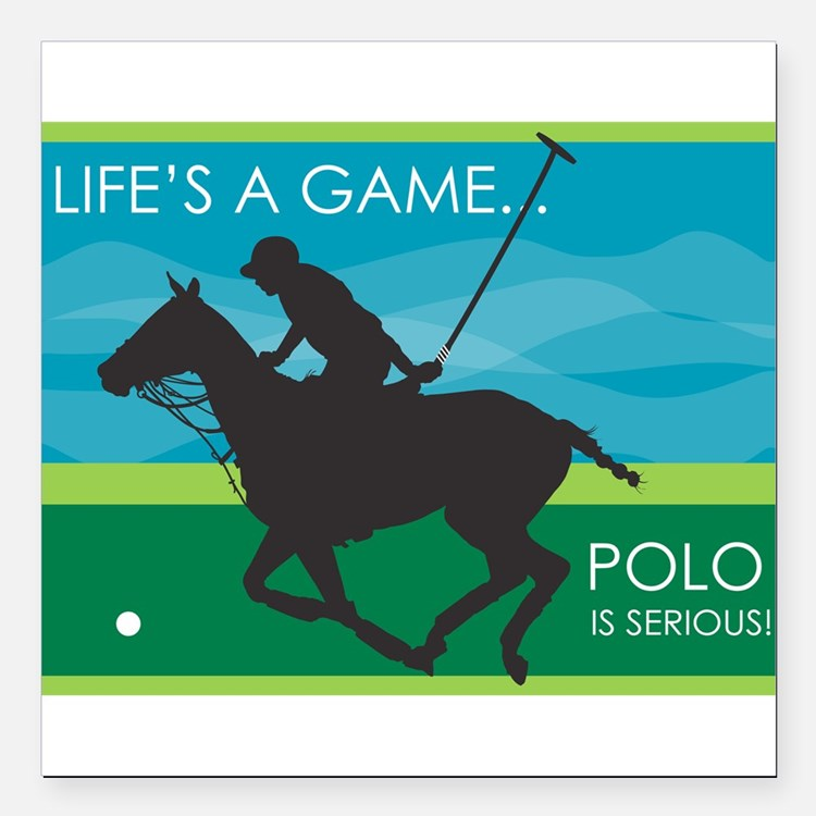 """polo pony.png Square Car Magnet 3"""" x 3"""""""