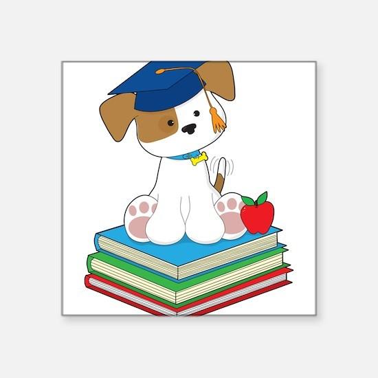 """Cute Puppy Graduate Square Sticker 3"""" x 3"""""""