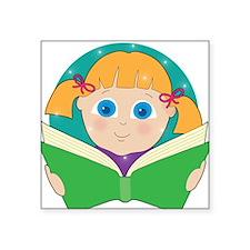 """Child Reading Square Sticker 3"""" x 3"""""""
