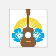 "Ukulele Hibiscus Square Sticker 3"" x 3"""