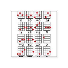 """Uke Chord Cheat White Square Sticker 3"""" x 3"""""""