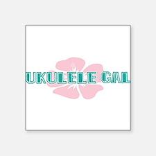 "Ukulele Gal Square Sticker 3"" x 3"""