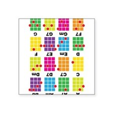 "Uke Chord Cheat Tee Colorful Square Sticker 3"" x 3"