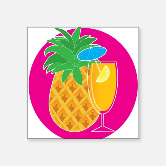 """Pineapple Cocktail Square Sticker 3"""" x 3"""""""