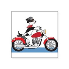 "Dog Motorcycle Square Sticker 3"" x 3"""