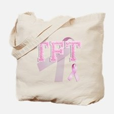 TFT initials, Pink Ribbon, Tote Bag