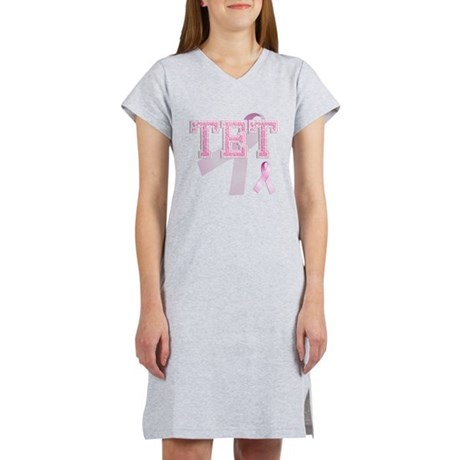 TET initials, Pink Ribbon, Women's Nightshirt