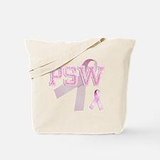 PSW initials, Pink Ribbon, Tote Bag