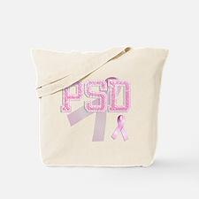PSD initials, Pink Ribbon, Tote Bag