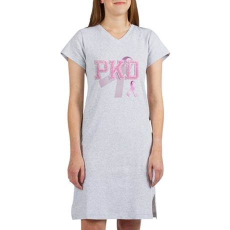PKD initials, Pink Ribbon, Women's Nightshirt