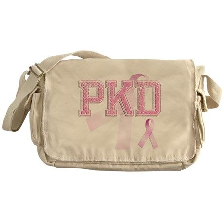 PKD initials, Pink Ribbon, Messenger Bag