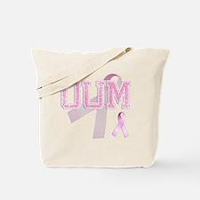 OUM initials, Pink Ribbon, Tote Bag