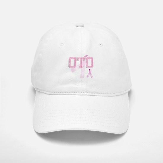 OTO initials, Pink Ribbon, Baseball Baseball Cap