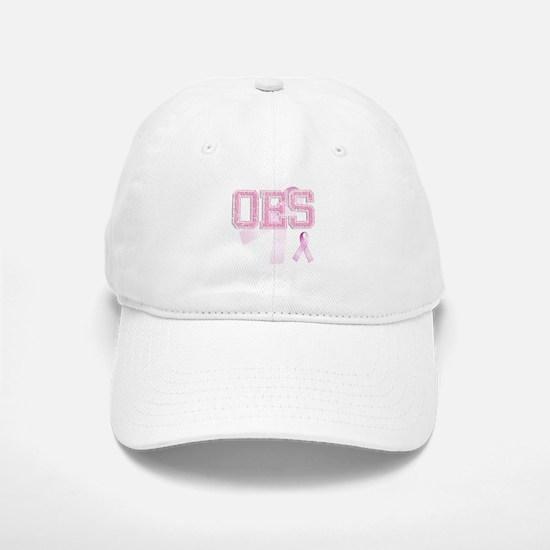 OES initials, Pink Ribbon, Baseball Baseball Cap