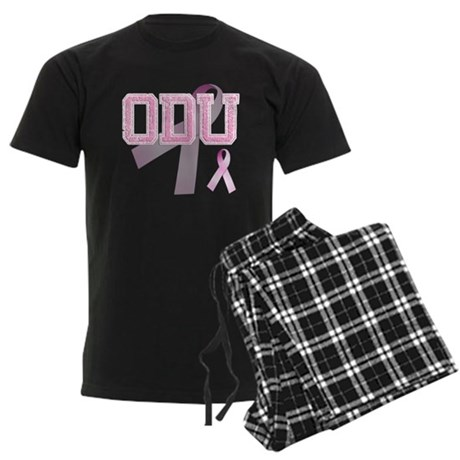ODU initials, Pink Ribbon, Men's Dark Pajamas